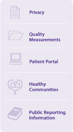 Consent Forms, Quality Measurements, Patient Portal, Healthy Communities